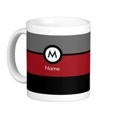 Modern Monogram Coffee Mug - Black, Red, Gray