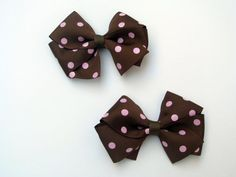 Single or Piggie Set of 2 Boutique Solid Colors Hair Bows SweetXDarlings