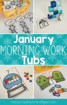 January Morning Work Tubs | Help your Kindergarten students have meaningful activities to work on each morning. You get sight words, ten frames, counting, matching, build an igloo, word families, missing numbers, patterns, transferring, drawing animals, food sort, missing letters, roll & cover, measurement, 2D shapes, and more! Great for your kinder students in January, winter, or anytime you want some snowy fun. (kinder, kinders, homeschool, home school)