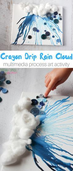 """This crayon drip rain cloud """"painting"""" is an awesome process art project for kids on a rainy day. This post discusses why process art is great for kids and tips for successfully creating this project, or one similar to it! Kindergarten Art, Preschool Art, Process Art Preschool, Preschool Learning, Painting For Kids, Art For Kids, Drip Painting, Painting Process, Projects For Kids"""