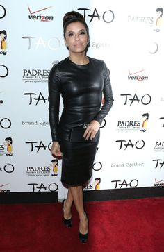 eva longoria dresses | Eva Longoria flaunts a black leather dress at the PADRES Annual Gala ...