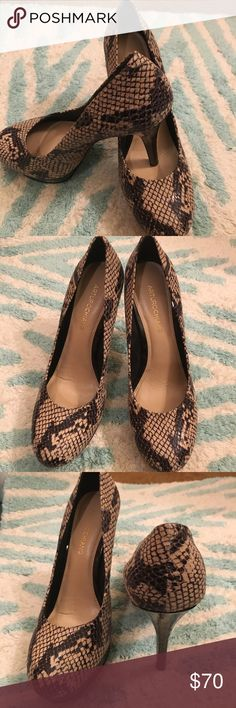 """Arturo Chiang Reptile Heels New and never worn but the box is gone.  Leather upper with embossed reptile. 5"""" heels and 1"""" platform. Lots of shine and style. Arturo Chiang Shoes Heels"""