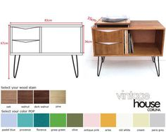 Vinyl Record Storage Console Table Mid Century Modern Table