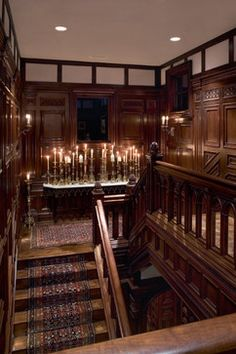 dark wood paneling and ornate architectural detail; mix of sumptuous materials, patterns, textures
