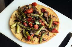 Kalamata Olive and Herb Socca (chickpea pancake) with Roasted Vegetables – Gluten-free + Vegan