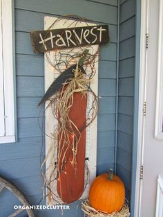 Outdoor Fall Decor love the shutter with the pumpkin....need to do something similar