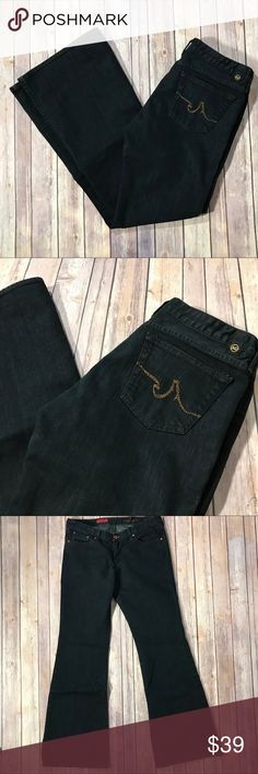 AG Jeans The Club low rise bootcut jeans black 31 This is a pair of AG Adriano Goldschmied Jeans in The Club fit (low rise bootcut). They are a black stretch denim fabric. They are women's size 31 R.  These jeans are in very gently used condition with no holes or stains. Please take a look through the photos to see if this item is right for you! Ag Adriano Goldschmied Jeans Boot Cut