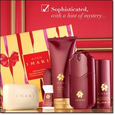 Imari Collection Gift Set A sensual blend of exotic incense and alluring vanilla orchid. Boxed gift set includes an exclusive Scented Bath Bar for an indulgent experience. • Eau de Cologne Spray  • Body Lotion  • EXCLUSIVE! Scented Bath Bar  • Shimmering Body Powder  • Roll-On Anti-Perspirant Deodorant http://jgoertzen.avonrepresentative.com/