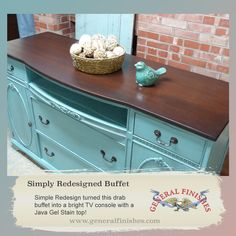 Simply Redesigned repurposed a buffet into a TV console using General Finishes Java Gel stain on top. Just lovely! You can buy General Finishes products at www.woodcraft.com, www.rockler.com, Amazon and limited selection at www.leevalley.com in Canada. Or use your zip code to find a retailer near you at http://generalfinishes.com/where-buy#UvASj1M3mIY.