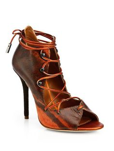 Savannah Snakeskin Lace-Up Ankle Boots by Malone Souliers