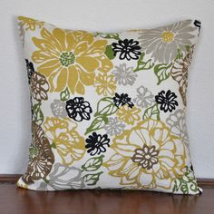 Yellow Gray and Black and  Pale Green on a Natural Background 18x18 Pillow Cover. $28.00, via Etsy.