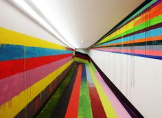 Rainbow tunnel vision. Artist Markus Linnenbrink was recently commissioned to paint the visitors tunnel at the new Justiz Vollzugs Anstalt (Prison) in Düsseldorf, Germany.