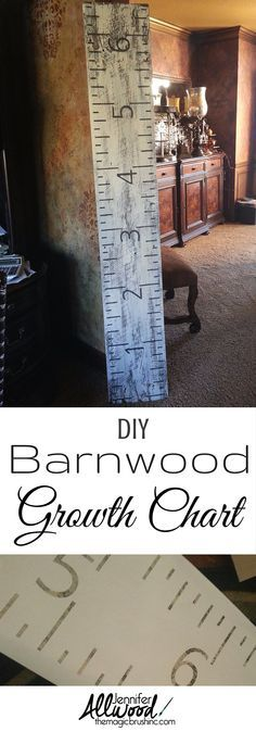 How to make your own growth chart for children using distressed barnwood, stencils and paints! More DIY projects and painting tips at theMagicBrushinc.com