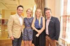 Lisa (MD) and Alice with Ant and Dec at the Sunshine Fund event in June Ant & Dec, Prom Dresses, Formal Dresses, How To Raise Money, Charity, Sunshine, Lisa, Suit Jacket, June