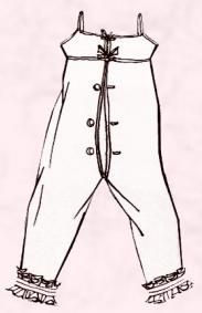 The Empire fashions at the turn of the 19th century were often little more than sheer nightgowns.  The practical solution to the discomfort of lighter clothing was to simply adopt the warm undergarment called pantaloons, already worn by men. Women's pantaloons were made of light stockinet in a flesh toned nude colour and reached to just below the knee, or even all the way to the ankles.  This is why Empire women often appear to be wearing no underwear when seen in paintings of the era.