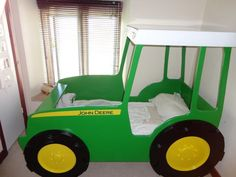 green painted tractor theme for toddler bed frame Tractor Toddler Bed, Toddler Bed Frame, John Deere Bedroom, Tractor Bedroom, Kids Bedroom Boys, Boy Room, Kids Room, Tractors For Kids, Bed Picture
