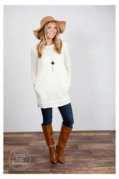 Casual Winter Outfits, Fall Outfits, Cute Outfits, Work Outfits, Tunic Sweater, Sweater Outfits, Sweatshirt Tunic, Leggings Outfit Winter, Clothes For Women