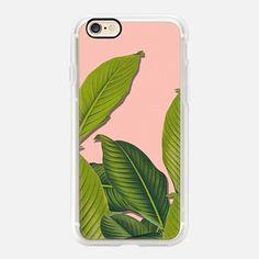 Casetify iPhone 7 Case and Other iPhone Covers - Tropical large leaves on pink by Maria Kritzas | #Casetify