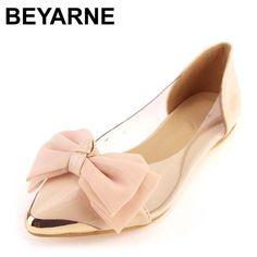 b8a9ad41de310 BEYARNE Hot-selling ol princess shoes bow transparent film shoes metal flat  pointed toe flatsLarge