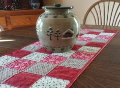 Quilted christmas table runner country theme by WarmandCozyQuilts