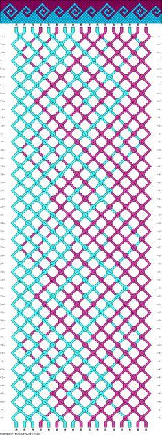 Beginner Greek pattern - waves - 2 colors - 17 strings