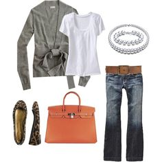 Leopard print flats and gray sweater. Cute for fall
