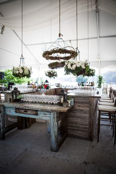 """Main bar at """"Farm to Table"""" theme wedding -- At the wedding of Jack Leslie and Caroline Pech in Southport, CT"""