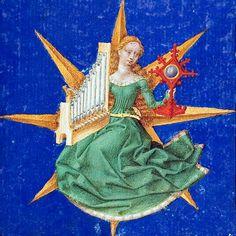 Cecilia with mirror, Wolfenbüttel, Cod. Medieval Music, Medieval World, Medieval Art, Medieval Fantasy, Renaissance Art, Medieval Manuscript, Illuminated Manuscript, Illuminated Letters, Motif Music