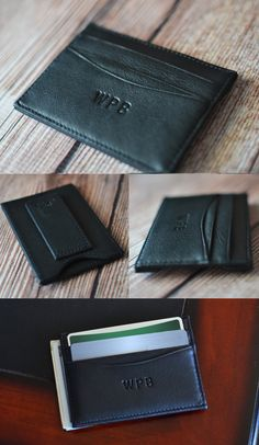 Perfect for vacationing or a night out on the town when he doesn't want to carry a traditional bulky wallet, this top grain Nappa cowhide leather money clip and credit card wallet fits comfortably and securely in a front pant pocket or inside jacket pocket. Add his initials or name for a gift your groomsman, best man, dad, son, brother, husband, or boyfriend will proudly use for years to come. This wallet can be ordered at…