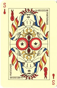 In 1940 and 1941 André Breton, widely considered the founder of Surrealism, and a group of like-minded individuals (René Char, Oscar Dominguez, Victor Brauner, Max Ernst, Jacques Hérold, Wilfredo Lam, André Masson, Benjamin Péret) decided to design their own deck of tarot cards. The deck they finally came up with was executed in a remarkably pleasing, almost ligne claire style. In accordance with the mindfuckery inherent to Surrealism, the group rejected the courtly/medieval theme of the ...