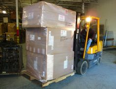Collin Tartella of JCM Manufacturing loads another pallet order for Supreme Truck Body in Goshen, Indiana.