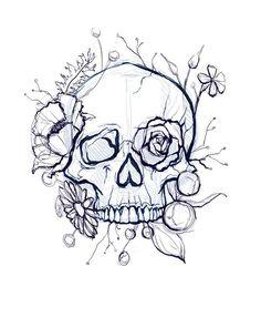 skull art drawing - skull art & skull artwork & skull art drawing & skull art dark & skull art pretty & skull art tattoo & skull art wallpaper & skull art black and white Art Drawings Sketches, Tattoo Sketches, Cool Drawings, Tattoo Drawings, Skull Drawings, Skull Sketch, Kunst Tattoos, Body Art Tattoos, Flower Skull Tattoos