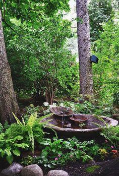 Vesiaihe pihalle vesipuutarha suihkulähde / Backyard water garden idea and la Ponds Backyard, Backyard Landscaping, Landscaping Ideas, Backyard Ideas, Backyard Shade, Patio Ideas, Modern Backyard, Pond Ideas, Modern Landscaping