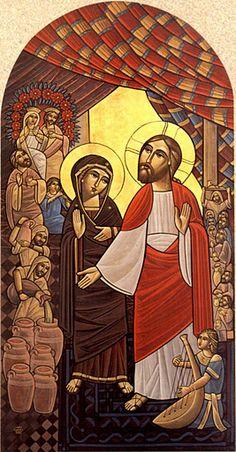 Jesus Miracle Wedding at Cana - Coptic Icon
