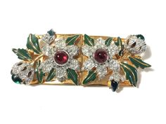 Vintage Coro Duette Rhinestones Enamel Large Convertible Flower Brooches Pin #Coro  Wish I had the money, it's beautiful