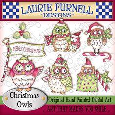 Buhos de Navidad Arte Digital Imágenes por lauriefurnelldesigns