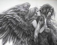 SciFi and Fantasy Art Divide The Sky by Adele Lorienne(i like mean much mate) Angel Demon, Angel Art, Diy Art, Fantasy Couples, Angel Drawing, Earth Design, Angels And Demons, Couple Art, Colouring Pages