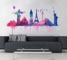 Aplique o Maravilhas do Mundo em Aguarela vinil parede em qualquer superfície plana. Maravilhas do Mundo em Aguarela vinil parede é a escolha perfeita.