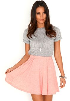 Nitra Melange Skater Skirt In Peach