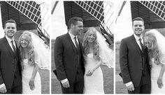 Relaxed bride and groom laughing together, outside the Windmill at Avoncroft Museum of Historic Buildings (avoncroft.org.uk). Black and white photograph. Rosie Kelly Photography