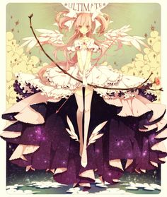 Anime picture with mahou shoujo madoka magica shaft (studio) kaname madoka goddess madoka utaoka long hair single tall image pink hair cloud (clouds) inscription orange eyes frame angel wings angel girl thighhighs dress gloves bow M Anime, I Love Anime, Anime Girls, Madoka Magica, Sayaka Miki, Anime Kunst, Anime Artwork, Manga Comics, Anime Shows