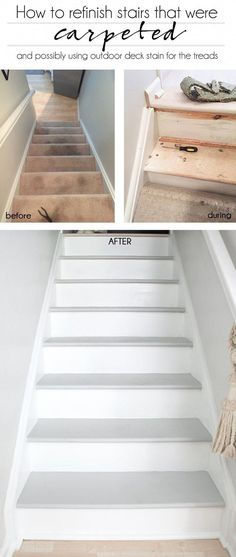 How to refinish stairs that were carpeted (and possibly use outdoor deck stain) - Outdoor Diy Refinish Stairs, Redo Stairs, House Stairs, Carpet Stairs, Staining Stairs, Basement Stairs, Painted Staircases, Painted Stairs, Wooden Stairs