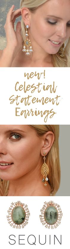 Make a sparkling statement in our newest, limited-edition Celestial Earrings capsule collection. Featuring 22K gold-dipped elements with semi-precious stones and Swarovski® crystal accents. Dreamy, otherworldly and guaranteed to make you starry-eyed! Designed & handcrafted in the USA with components from around the world.