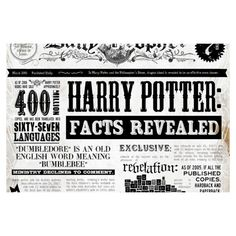 The Daily Prophet Harry Potter Facts Revealed Infographic ❤ liked on Polyvore featuring harry potter, hp, backgrounds, quotes, fillers, text, phrase and saying