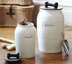 Rhodes Pet Food Canister from Pottery Barn - Dog Treat Container, Dog Treat Jar, Pottery Barn, Food Canisters, Pet Food Storage, Food Containers, Storage Containers, Pet Gifts, Dog Supplies
