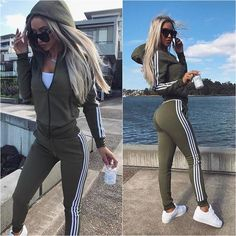 Tracksuit Women Casual Female Set 2018 Autumn Long Sleeve Sweatsuit Womens Hooded Tops and Pants Two Piece Outfit Sets Size XXL Beste Leggings, Suits For Women, Clothes For Women, Two Piece Outfit, Mode Outfits, Mode Inspiration, Casual Tops, Casual Suit, Loungewear
