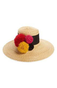 b54a758332b44 Eugenia Kim Mirasol Pompom Straw Hat available at  Nordstrom Pom Pom Hat