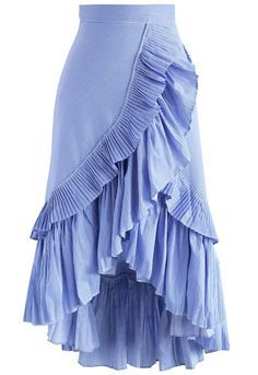 Applause of Ruffle Tiered Frill Hem Skirt in Blue Stripes - New Arrivals - Retro, Indie and Unique Fashion
