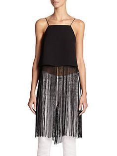 Line & Dot - Fringe-Trimmed Cropped Top