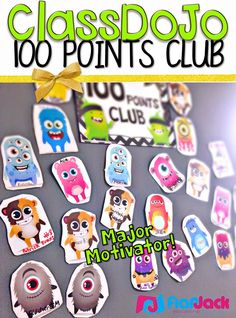 FlapJack Educational Resources: ClassDoJo 100 Points Club - Are you using ClassDoJo? Here's an easy, inexpensive way to motivate your students with their little precious monsters. Love our class dojo Classroom Rewards, Classroom Behavior Management, Student Behavior, Classroom Organisation, School Classroom, Classroom Ideas, Behaviour Management, Class Dojo Rewards, Behavior Incentives